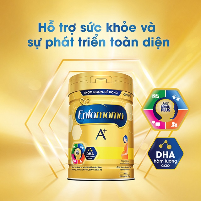 Sữa Enfamama A+ giúp hỗ trợ phát triển toàn diện cho thai nhi, giúp mẹ bầu khỏe mạnh