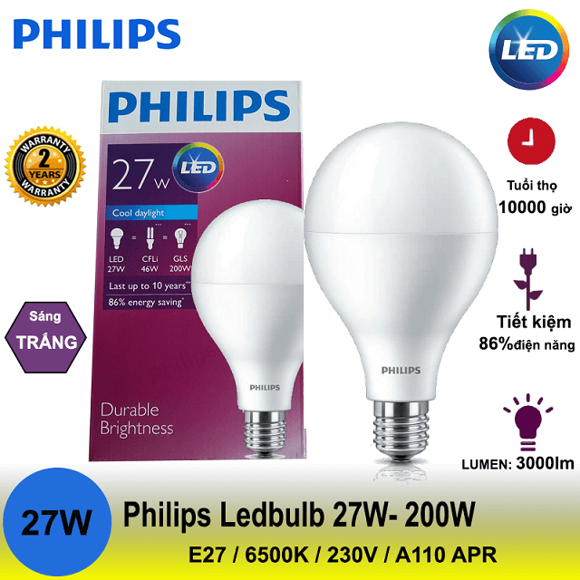 Đèn LED Buld Philips E27 hiện đang rất phổ biến trong các gia đình Việt
