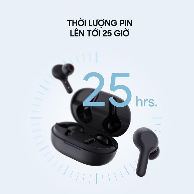 Tai nghe Aukey Ep T25 có thể hoạt động lên tới 25 giờ liên tục